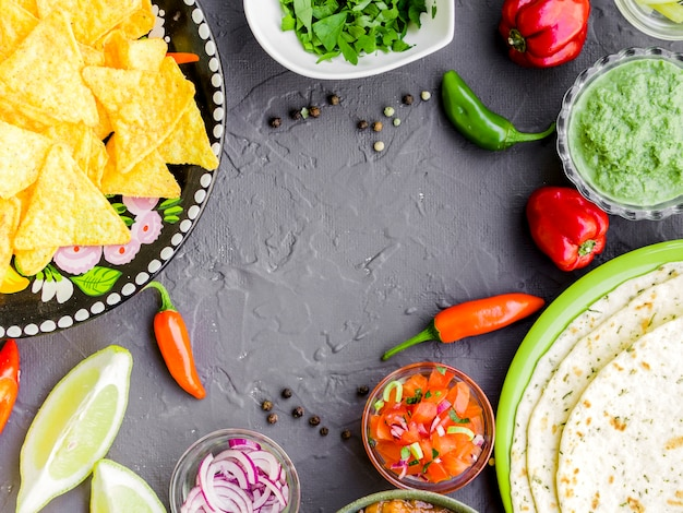 Quadro de comida mexicana tradicional