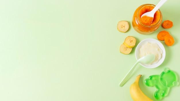 Quadro de comida plana leigos com fundo verde