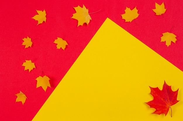 Quadro de composição de outono feito de folhas de bordo de outono em fundo vermelho e amarelo