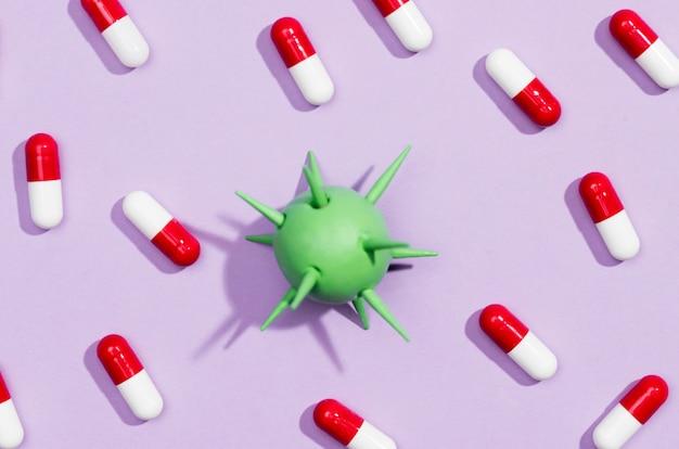 Quadro de comprimidos com bactérias no meio