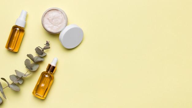 Quadro de cosméticos naturais plana leigos