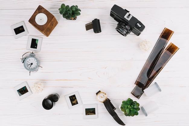 Quadro de elementos de fotografia de vista superior
