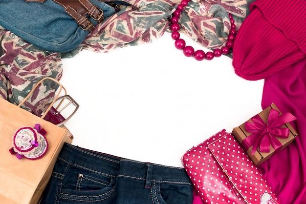 Quadro de elementos do guarda-roupa feminino.