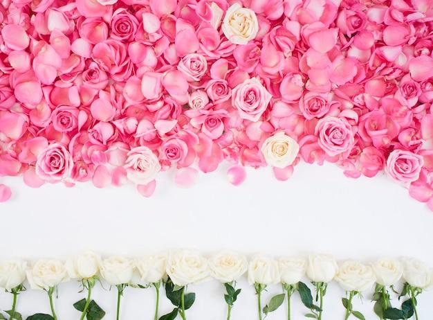 Quadro de flor feita de rosas rosa