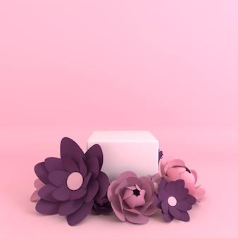 Quadro de flores de papel, plataforma de pódio para apresentação do produto