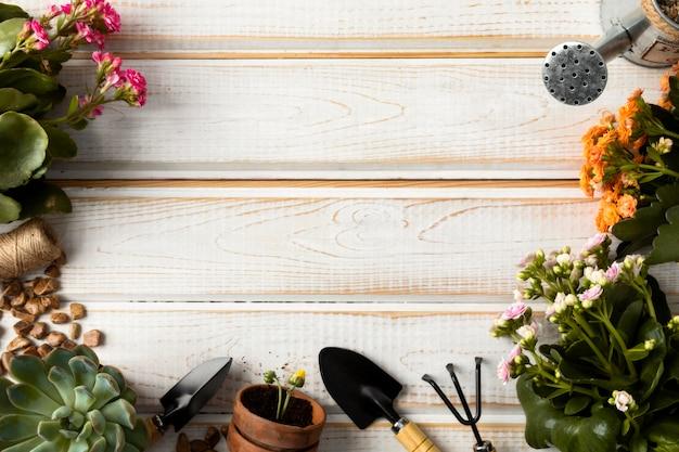 Quadro de flores e ferramentas