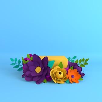 Quadro de flores e folhas de papel, plataforma de pódio para apresentação do produto.