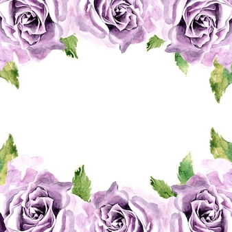Quadro de flores em aquarela com mão pintada violeta rosa flor