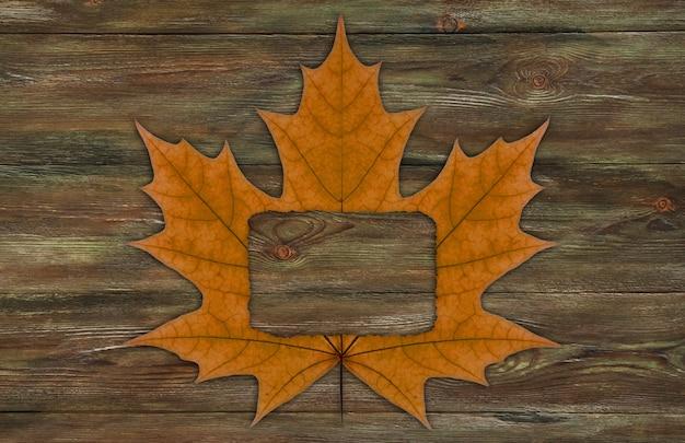 Quadro de folha seca de outono.