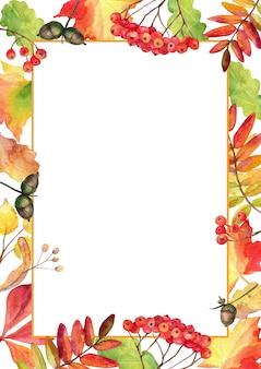 Quadro de folhas de outono caídas com espaço em branco.