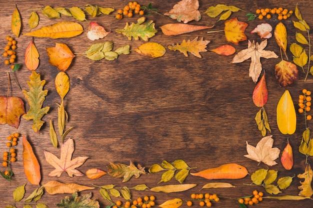 Quadro de folhas de outono em fundo de madeira