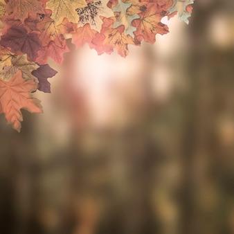 Quadro de folhas de outono projetado no fundo desfocado