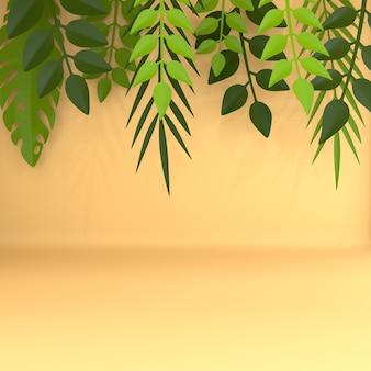Quadro de folhas de palmeira de papel tropical. estilo de corte de papel 3d render