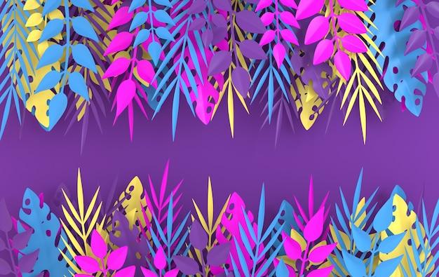Quadro de folhas de palmeira de papel tropical