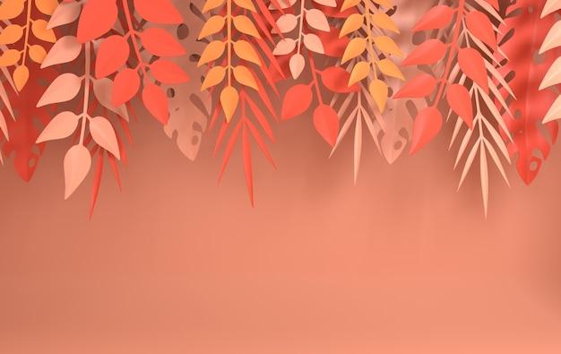 Quadro de folhas de palmeira monstera tropical verão folhas tropicais origami selva havaiana exótica verão