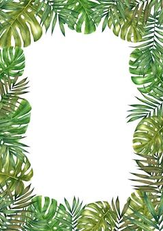 Quadro de folhas tropicais em aquarela. ilustração em aquarela em branco.