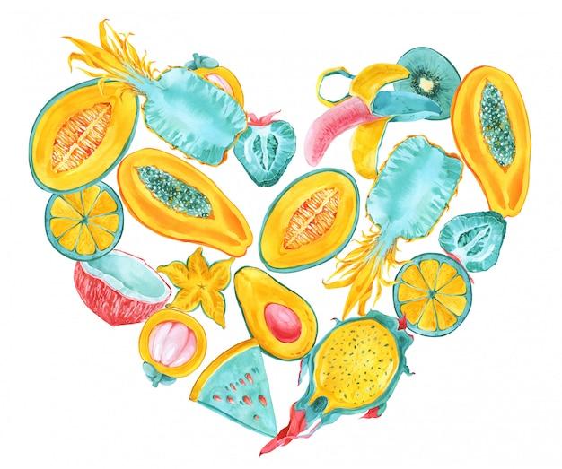 Quadro de forma de coração de frutas tropicais. fronteira de frutas exóticas na moda verão cor. fruta do dragão, pitaya, mangostão, carambola, banana, carambola, mamão, abacate. hortelã, amarelo, vermelho, rosa impressão de cartão