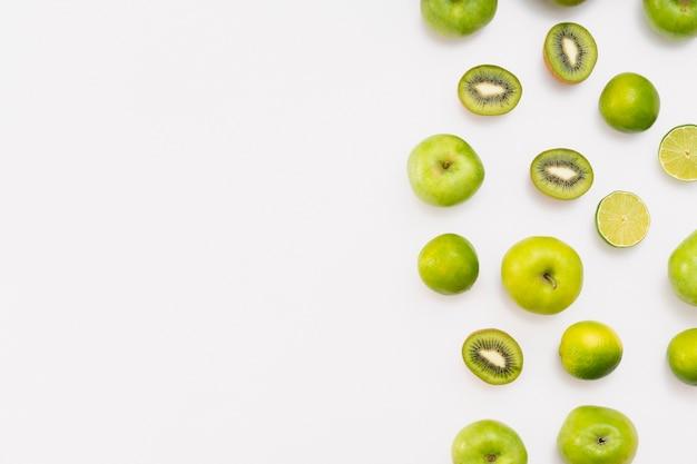 Quadro de fruta plana leigos com cópia-espaço
