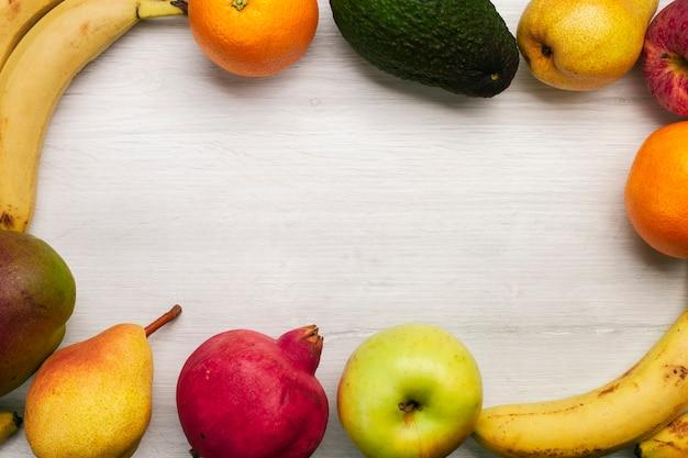 Quadro de frutas com espaço de cópia