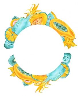 Quadro de frutas tropicais redondas. fronteira de frutas exóticas na moda verão cor sobre fundo branco. abacaxi, carambola, carambola, mamão, coroa de melão. hortelã azul, impressão amarela para cartões de convite