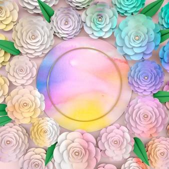 Quadro de fundo do círculo com flor desabrocham rosa.