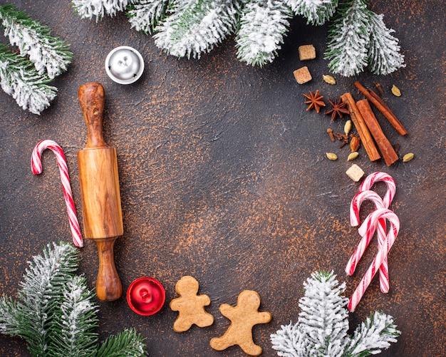 Quadro de ingredientes para assar biscoitos de natal