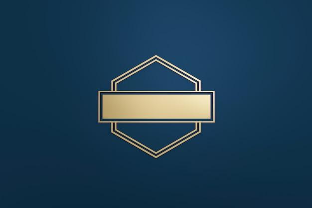 Quadro de logotipo em branco e rótulo dourado com estilo moderno em fundo azul escuro. modelo vazio para a forma do emblema e diamante do projeto. renderização em 3d.