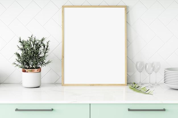 Quadro de maquete de cozinha verde