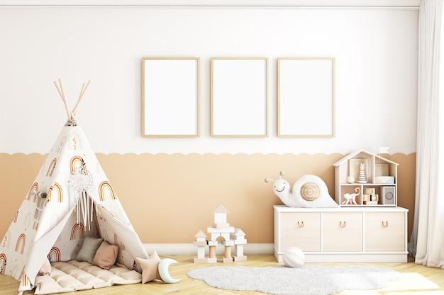 Quadro de maquete infantil com barraca e com uma coroa de molduras de madeira