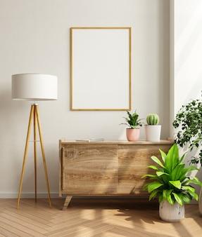 Quadro de maquete no gabinete no interior da sala de estar, estilo escandinavo, renderização em 3d