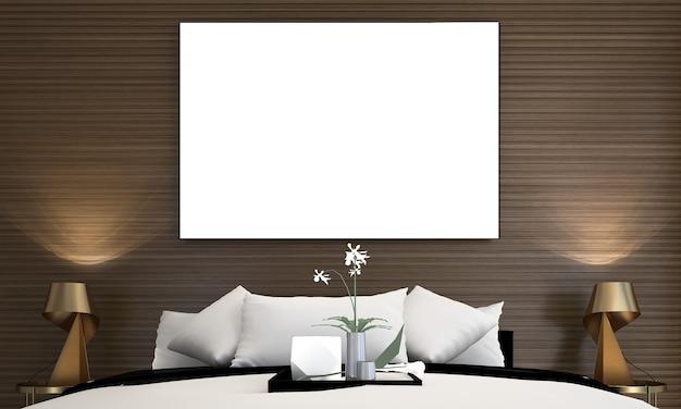 Quadro de maquete no interior do quarto luxuoso estilo hampton 3d render