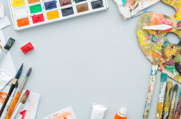 Quadro de materiais de pintura vista superior