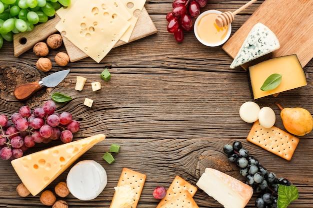 Quadro de mistura de queijo plana leigos