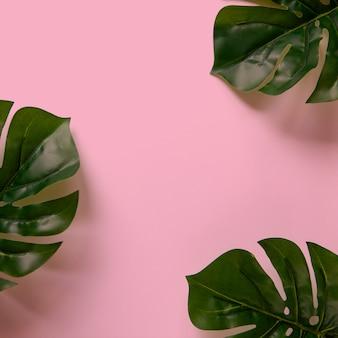 Quadro de monstera deixa no fundo rosa com espaço de cópia Foto Premium