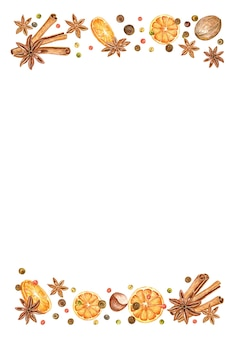 Quadro de natal de laranjas, estrelas de anis, pimenta e paus de canela. fundo de férias desenhado à mão