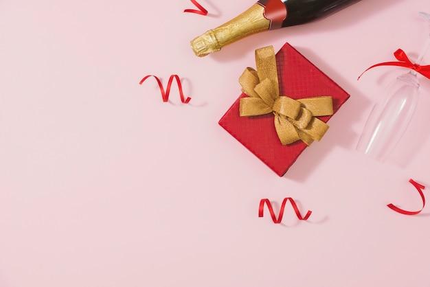 Quadro de natal. presentes de natal, laços, decoração. camada plana, vista superior