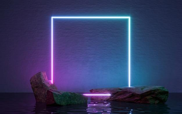 Quadro de néon cadastre-se em forma com pedras e reflexo na água. renderização 3d