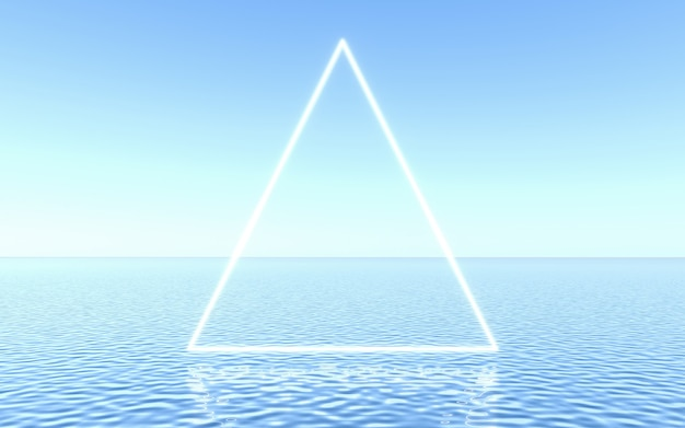 Quadro de néon na água, cena de estúdio para apresentação do produto ou texto. renderização 3d