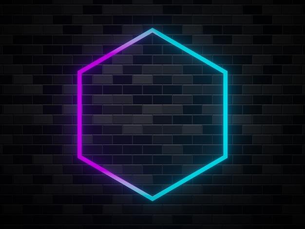 Quadro de néon renderizado em 3d no fundo da parede de tijolos
