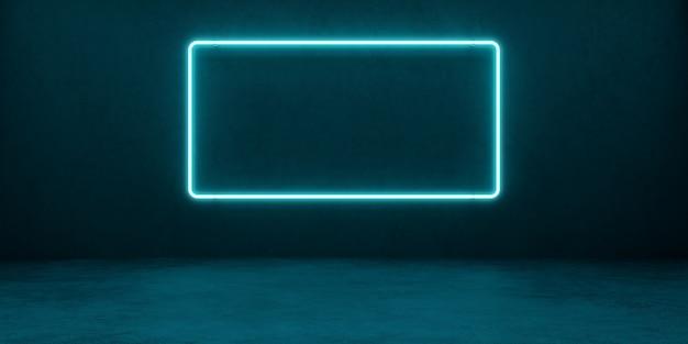 Quadro de néon retangular brilhante de cor azul contra um fundo de uma parede de concreto. banner com espaço em branco. 3 d ilusnação.