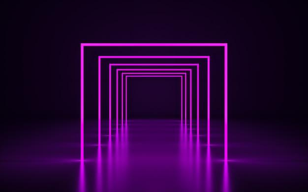 Quadro de néon violeta. renderização 3d geométrica roxa com reflexo no chão