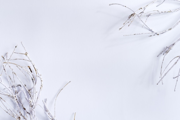 Quadro de parabéns de galhos de árvore de geada natural de natal em branco