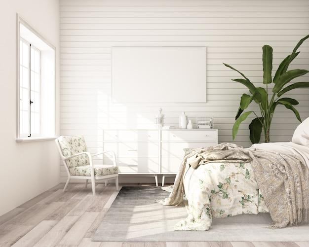 Quadro de pôster de mock-up no estilo clássico moderno de quarto com parede branca de madeira 3d render