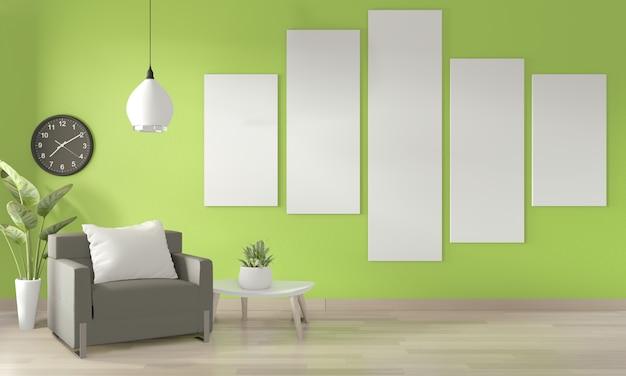 Quadro de pôster na parede, sofá branco e plantas de decoração na parede verde clara e piso de madeira. renderização 3d