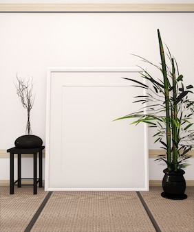 Quadro de pôster no tatame tapete chão e quarto branco estilo japonês com vaso preto na mesa baixa e plantas de bambu. renderização em 3d