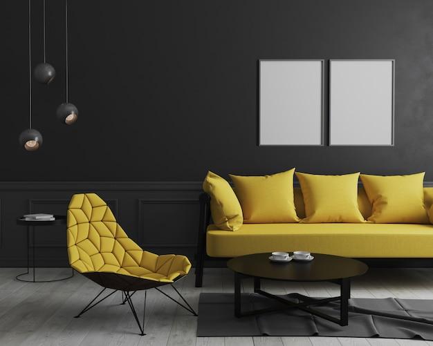 Quadro de pôster vertical em branco mock-se no interior da sala moderna com parede preta e elegante sofá amarelo e poltrona de design perto da mesa de café