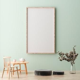 Quadro de pôster vertical em branco simulado de pé na parede verde