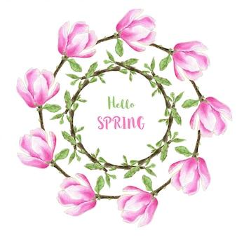 Quadro de primavera aquarela com flores de magnólia para design de convite e cartão de felicitações