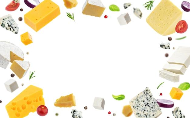 Quadro de queijo isolado no branco