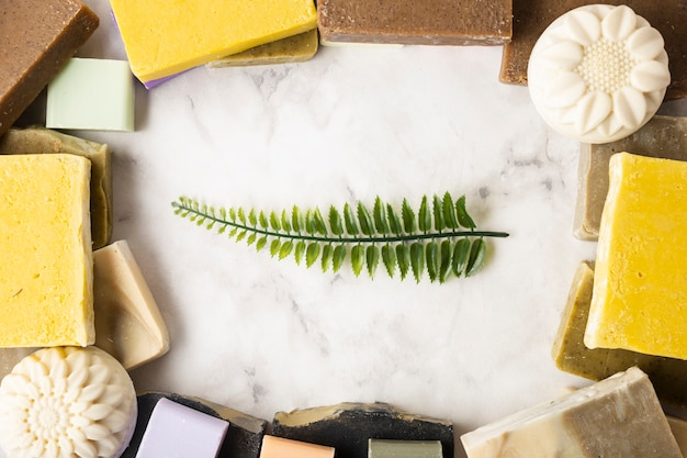 Quadro de sabonetes com folhas no meio